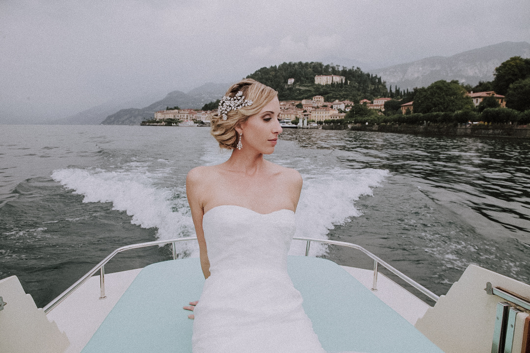 Bride on boat in Italy